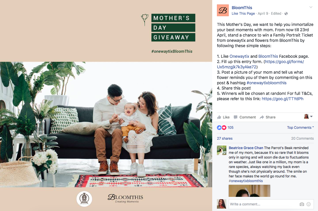 Bloom This Facebook Mothers Day Giveaway