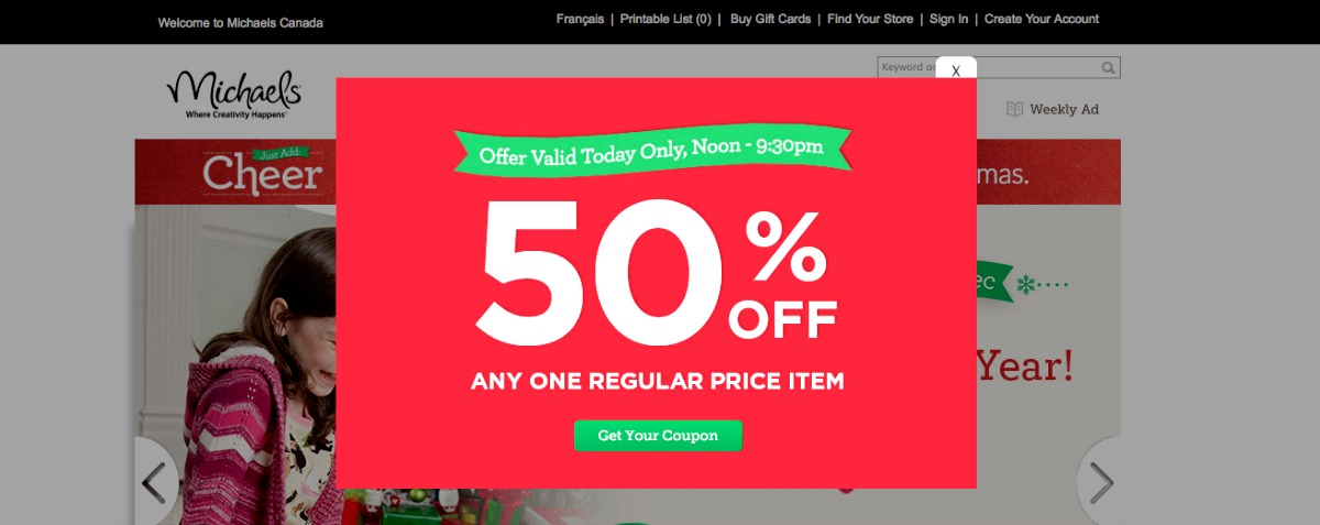 Michaels offers time-limited daily coupons