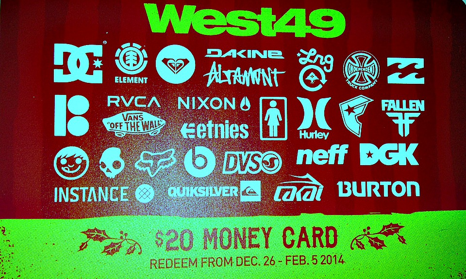 West 49's in-store promotion is a $20 gift card