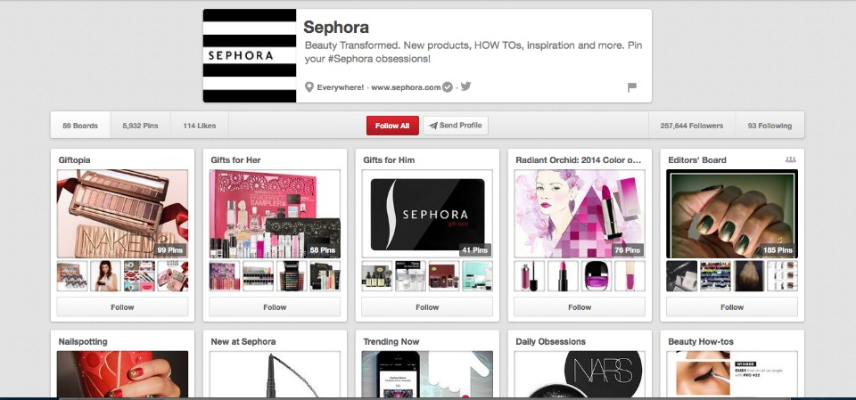 Sephora has a strong Pinterest presence