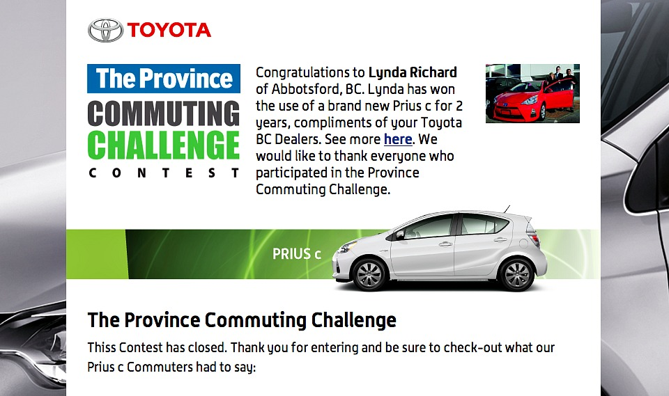 The Province Commuting Challenge Winner