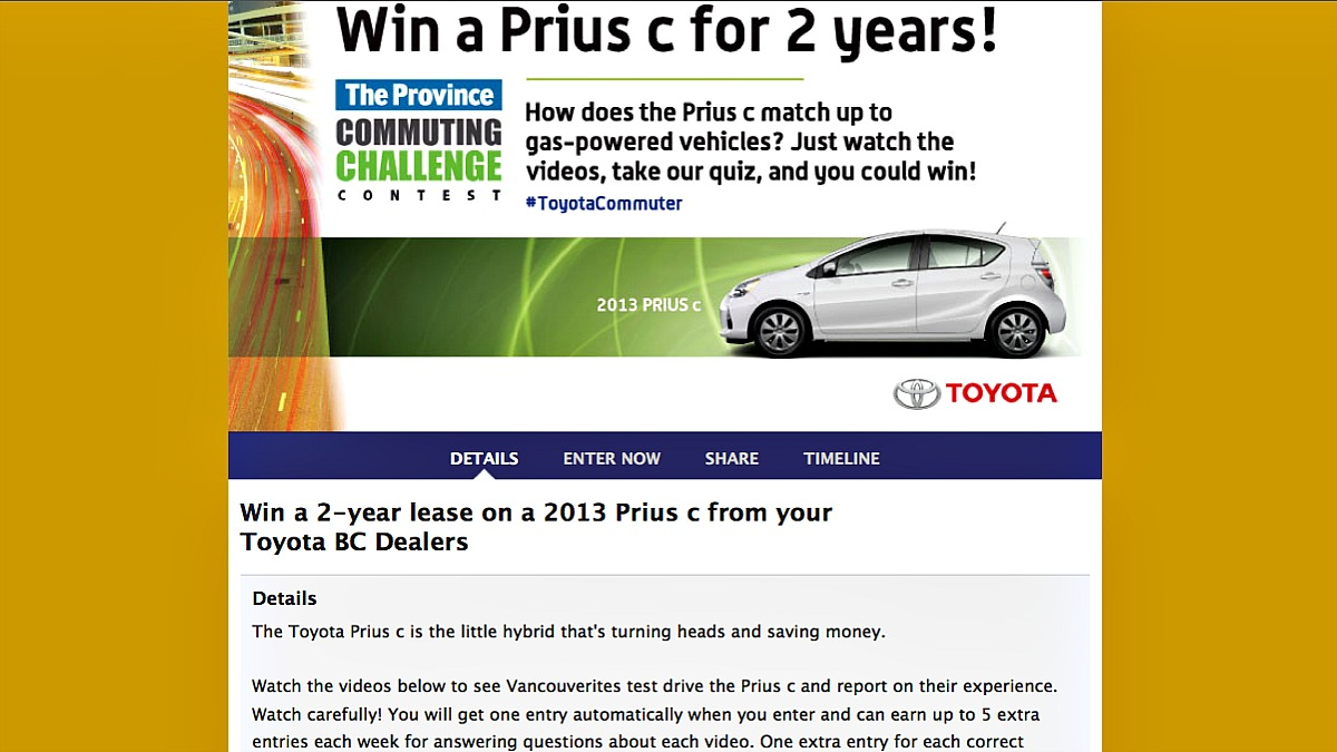 The Province Commuting Challenge Sweepstakes