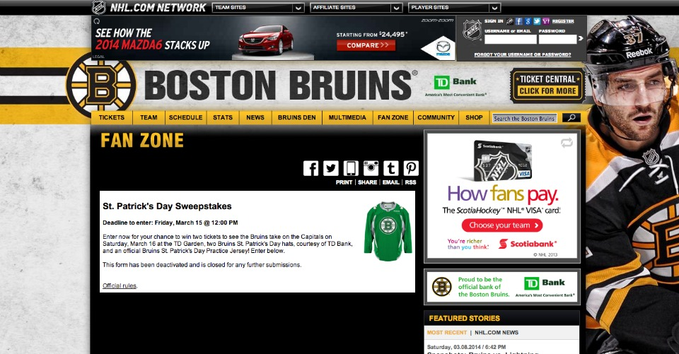 Boston Bruins St. Patrick's Day Sweepstakes